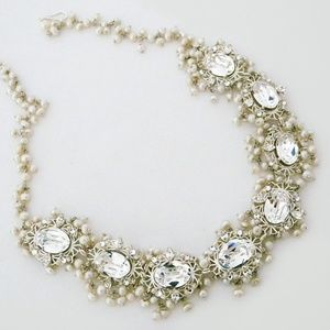 Crystal Wedding Necklace with Pearls
